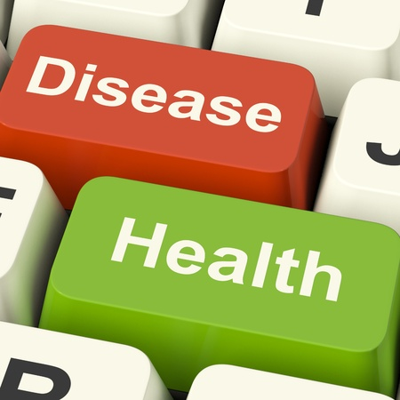 Disease And Health Computer Keys Showing Online Healthcare Or Treatments photo