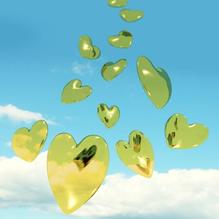 dearest: Metallic Gold Hearts Falling From The Sky Shows Love And Romance Stock Photo
