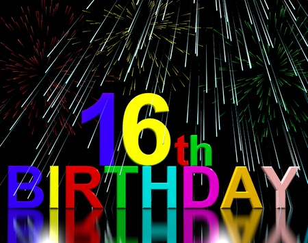 sixteenth: 16th Or Sixteenth Birthday Celebrated With Fireworks Display Stock Photo
