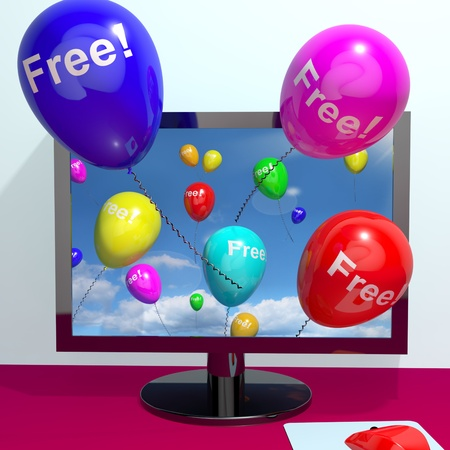 gratuity: Balloons With Free Coming Through Computer  Shows Freebies and Promotions Online