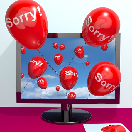 apology: Sorry Balloons From Computer Shows Online Apology Regret Or Remorse Stock Photo