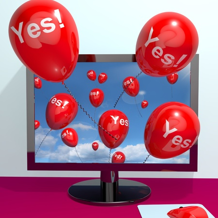 Yes Balloons From A Computer Shows Approval And Support Message Online Stock Photo - 13481077