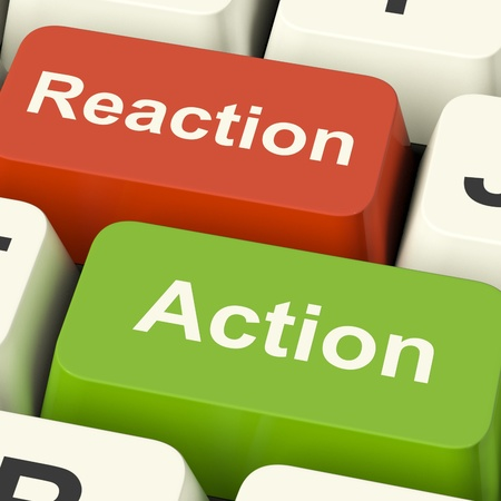consequence: Action Reaction Computer Keys Shows Control Feedback And Response Stock Photo