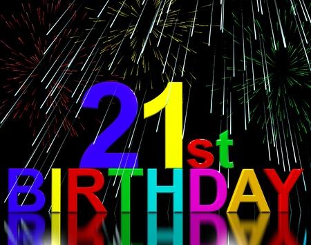 21: Twenty First Or 21st Birthday Celebrated With Fireworks Display
