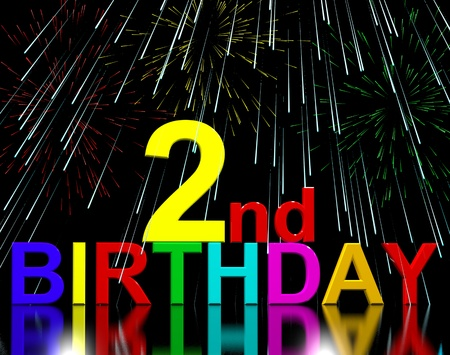 Second Or 2nd Birthday Celebrated With Fireworks Display photo