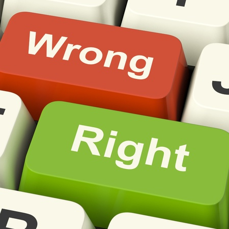Right And Wrong Computer Keys Shows Results Validation Or Decisions Stock Photo - 13482089