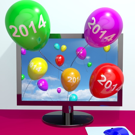 two thousand and fourteen: 2014 Balloons From Computer Represents Year Two Thousand And Fourteen Greeting Online