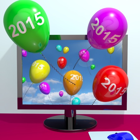 2015 On Balloons From Computer Representing Year Two Thousand And Fifteen Greetings Online photo