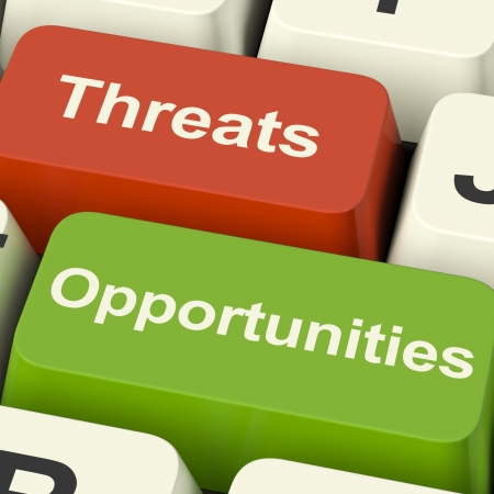 Threats And Opportunities Computer Keys Showing Business Risks Or Improvements