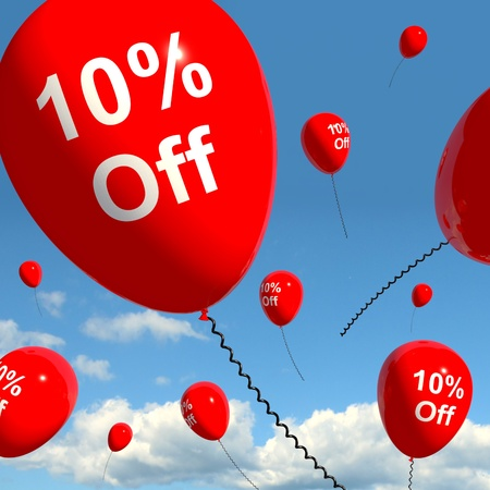 Balloon With 10% Off Shows Sale Discount Of Ten Percent photo