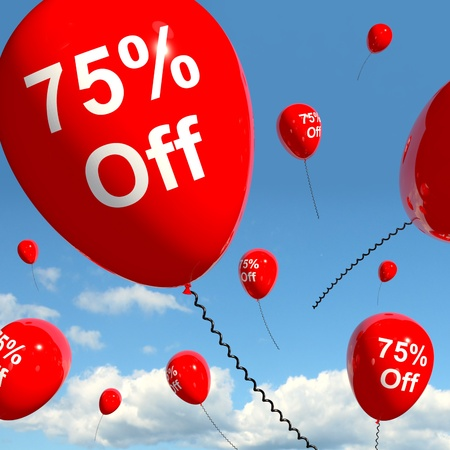 Balloon With 75% Off Shows Sale Discount Of Seventy Five Percent photo