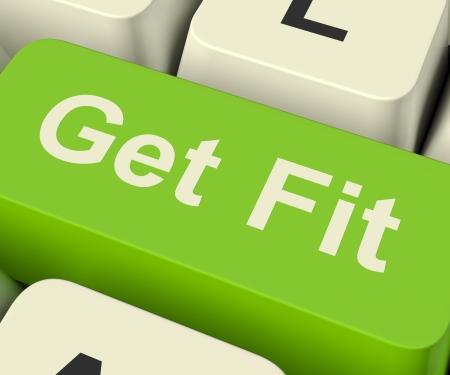fit on: Ponte en forma clave de computadora muestra el ejercicio y la elaboraci�n de aptitud para