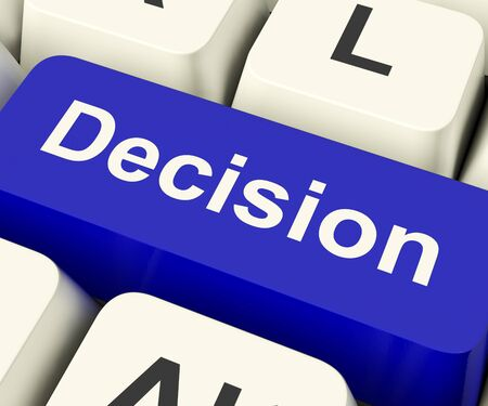 Decision Computer Key Represents Uncertainty And Making Decisions Online Stock Photo - 13481444