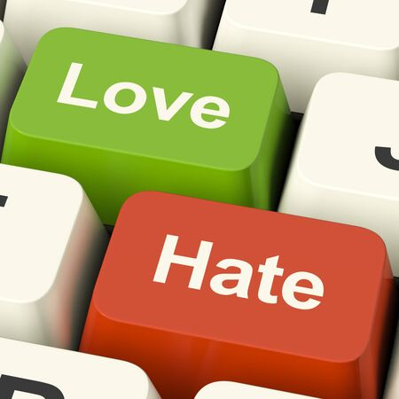 Love Hate Computer Keys Shows Emotion Anger And Conflict photo