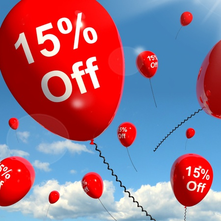 Balloon With 15% Off Shows Sale Discount Of Fifteen Percent Stock Photo - 13481234