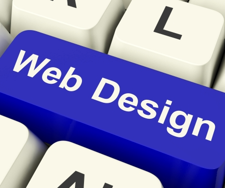 Web Design Computer Key Shows Internet Or Online Graphic Designing Stock Photo