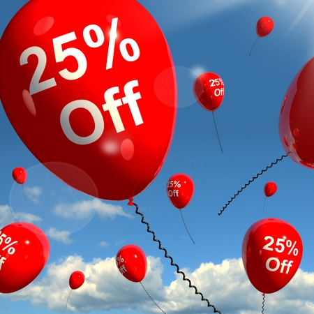 Balloon With 25% Off Shows Sale Discount Of Twenty Five Percent Stock Photo - 13481233