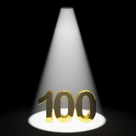 one hundred: Gold 100th 3d Number Representing Anniversary Or Birthdays
