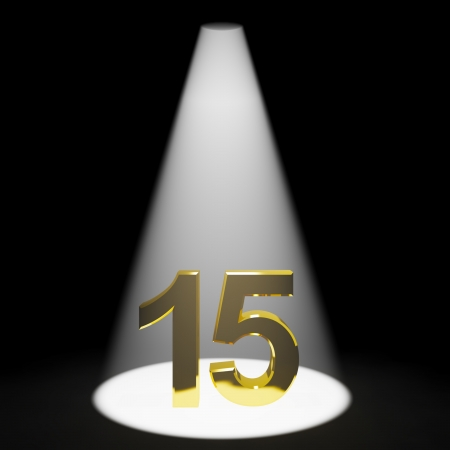 number 15: Gold 15th Or Fifteen 3d Number Represents Anniversary Or Birthday Stock Photo