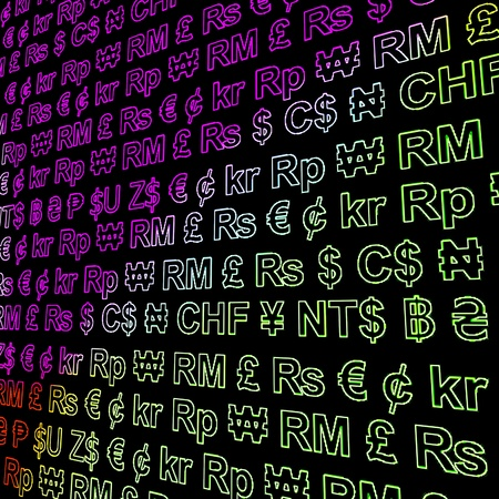 Currency Symbols Glowing In Colors Showing Exchange Rates And