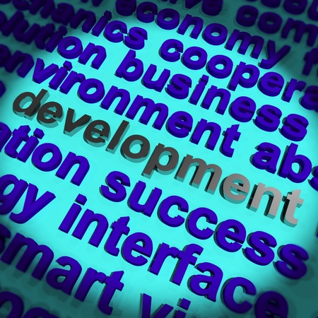 advancement: Development Word Shows Improvement Advancement And Growth