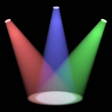 beam: Multicolored Spotlights Shining On A Small Stage With Black Background Stock Photo