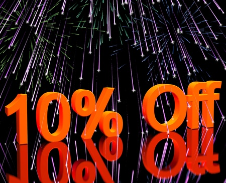 10% Off With Fireworks Shows Sale Discount Of Ten Percent Stock Photo - 13480514