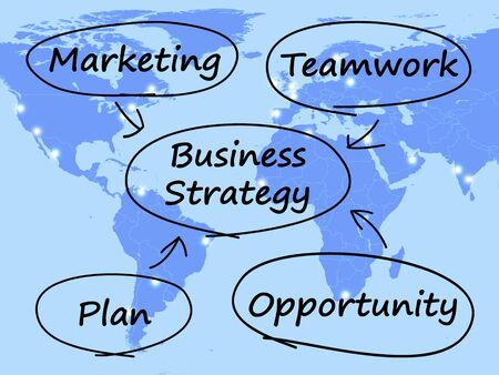 Business Strategy Diagram Shows Teamwork And Plan Stock Photo - 13480837