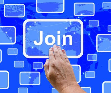 Join Button With Hand Showing Subscription And Registrations Stock Photo - 13480645