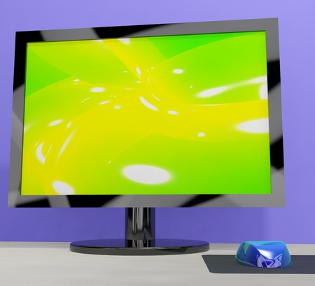 wideview: TV Monitor Showing High Definition Television Or HDTV Stock Photo