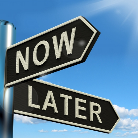 procrastination: Now Or Later Signpost Shows Delay Deadlines And Urgency