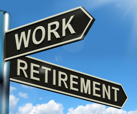 retire: Work Or Retire Signpost Shows Choice Of Working Or Retirement