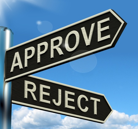 Approve Reject Signpost Shows Decision To Accept Or Decline Stock Photo - 13564411
