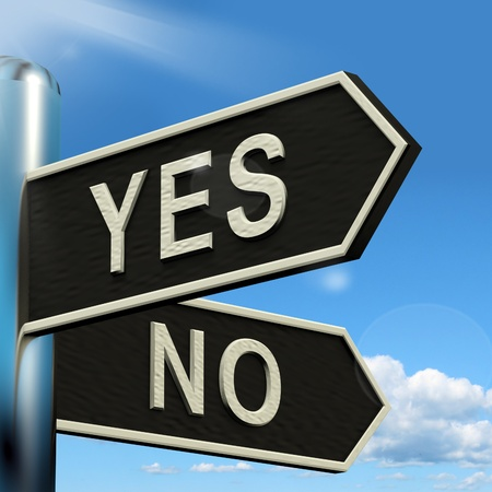 indecision: Yes No Signpost Shows Indecision Choosing And Dilemma