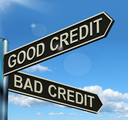 good or bad: Good Bad Credit Signpost Shows Customer Financial Rating