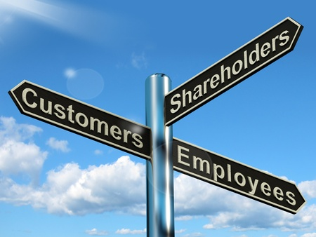 stockholder: Customers Employees Shareholders Signpost Shows Company Organization Stock Photo