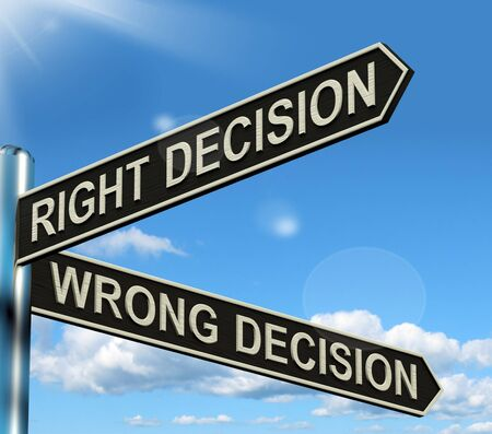 outcome: Right Or Wrong Decision Signpost Shows Confusion Outcome And Counceling