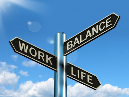 occupations and work: Work Life Balance Signpost Shows Career And Leisure Harmony Stock Photo