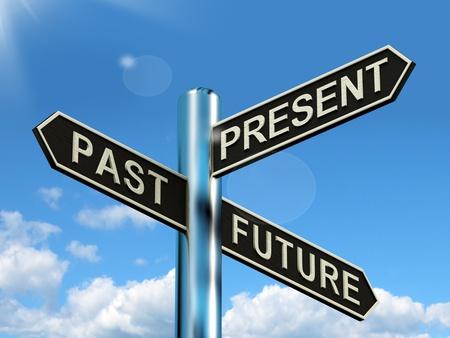 Vergangenheit, Gegenwart und Zukunft Wegweiser Zeigt Entwicklung Schicksal oder Alterung