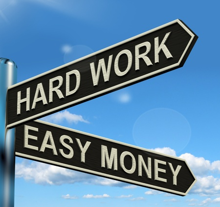 Hard Work Easy Money Signpost Showing Business Profit Stock Photo - 13564414