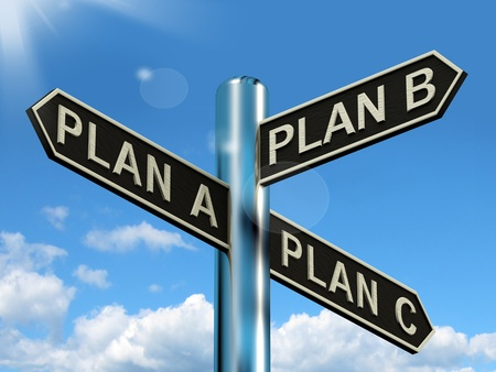 business dilemma: Plan A B or C Choice Showing Strategy Change Or Dilemmas