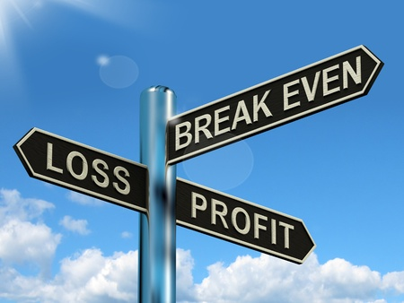 even: Loss Profit Or Break Even Signpost Shows Investment Earnings And Profits