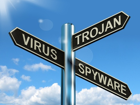Virus Trojan Spyware Signpost Shows Internet Or Computer Threats photo