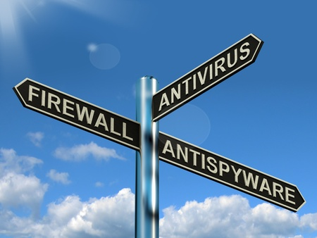 Firewall Antivirus Antispyware Signpost Shows Internet And Computer Security Protection photo