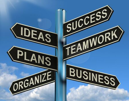 company vision: Success Ideas Teamwork Plans Signpost Shows Business Plans And Organization