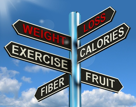 loss: Weight Loss Signpost Shows Fiber Exercise Fruit And Calories Stock Photo