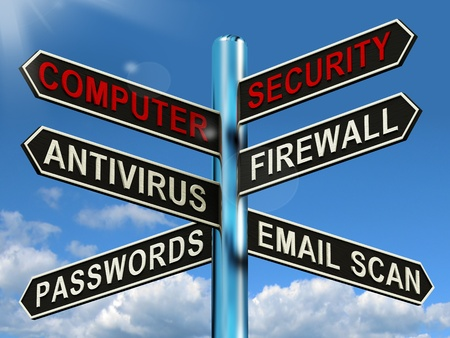 Computer Security Signpost Showing Laptop Internet Safety  photo