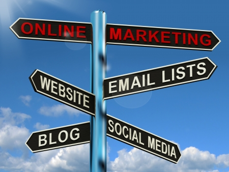 media advertising: Online Marketing Signpost Shows Blogs Websites Social Media And Email Lists