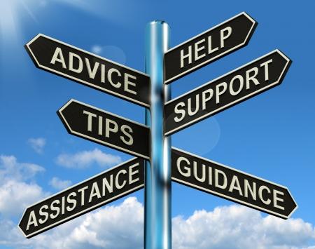 상담 및 도움말 지원 및 팁 표지판은 정보와 안내를 표시합니다