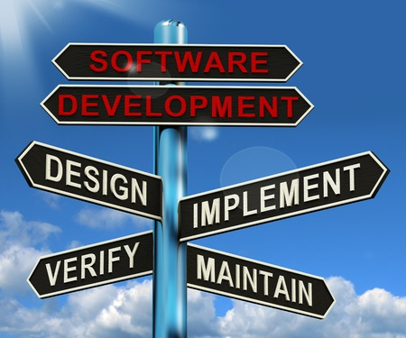 software development: Software Development Pyramid Shows Design Implement Maintain And Verify Stock Photo